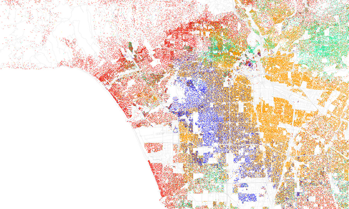 "Photo by Eric Fisher CC BY-SA 2.0 ""Race and ethnicity 2010: Los Angeles"" Red is White, Blue is Black, Green is Asian, Orange is Hispanic, Yellow is Other, and each dot is 25 residents."