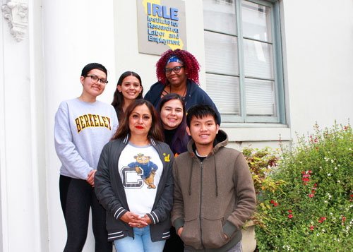 Undergraduate students on the steps of IRLE
