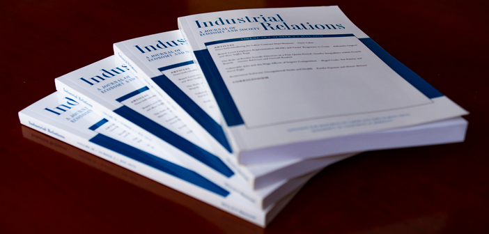 Copies of the Industrial Relations Journal on a table